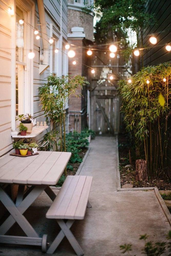 Patio String Light Ideas Back Walkway Picnic Table