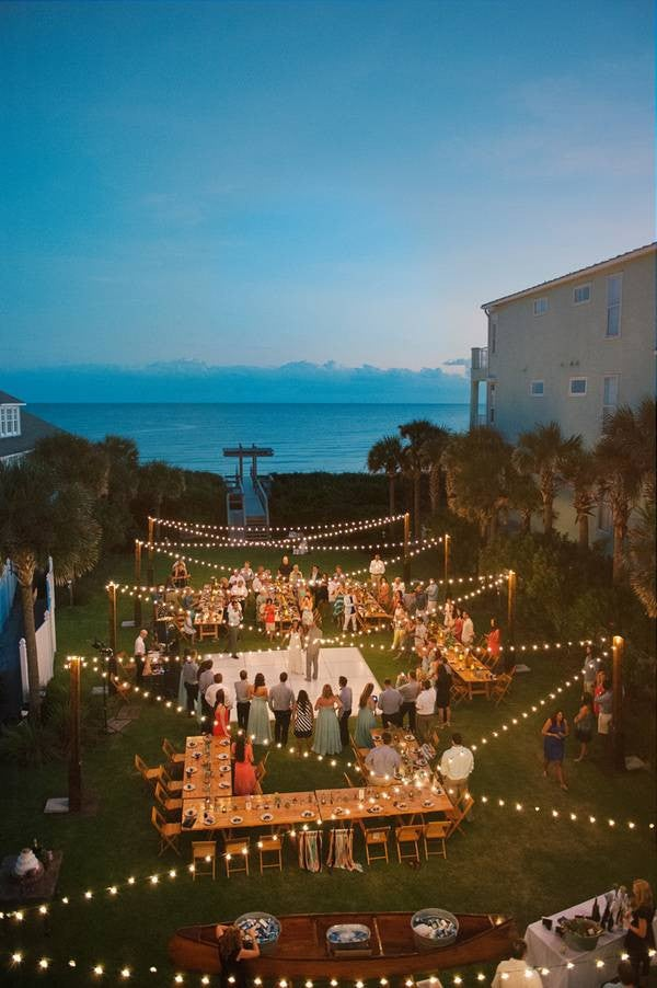 Patio String Light Ideas Beachside Wedding Inspiration