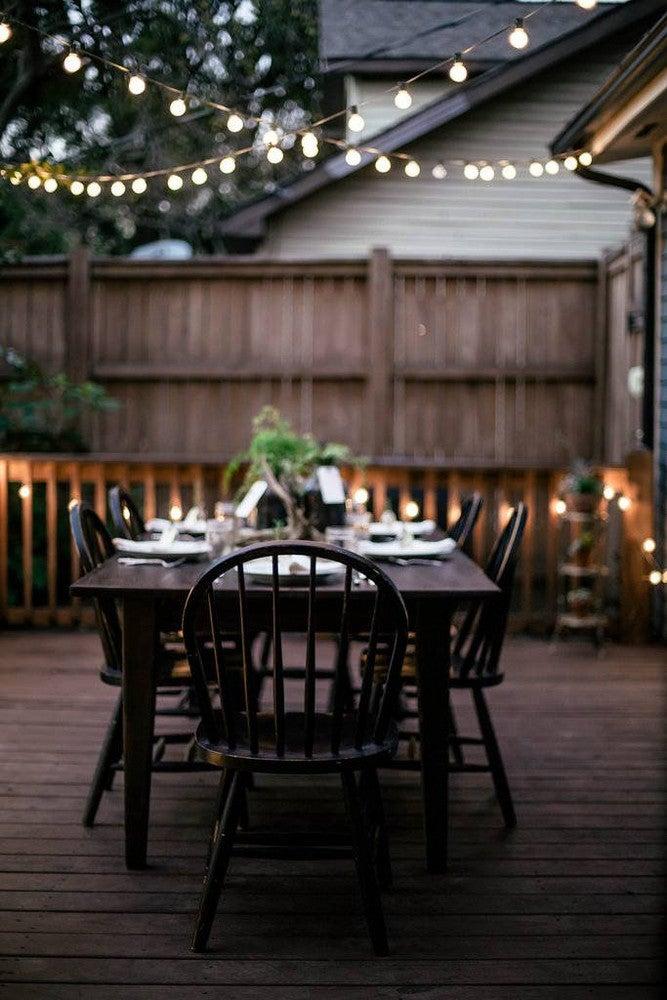 Patio String Light Ideas Deck Dinner Party