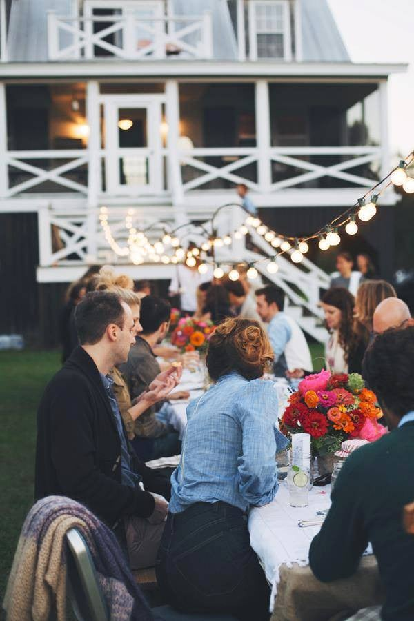 Patio String Light Ideas Lawn Dinner Party