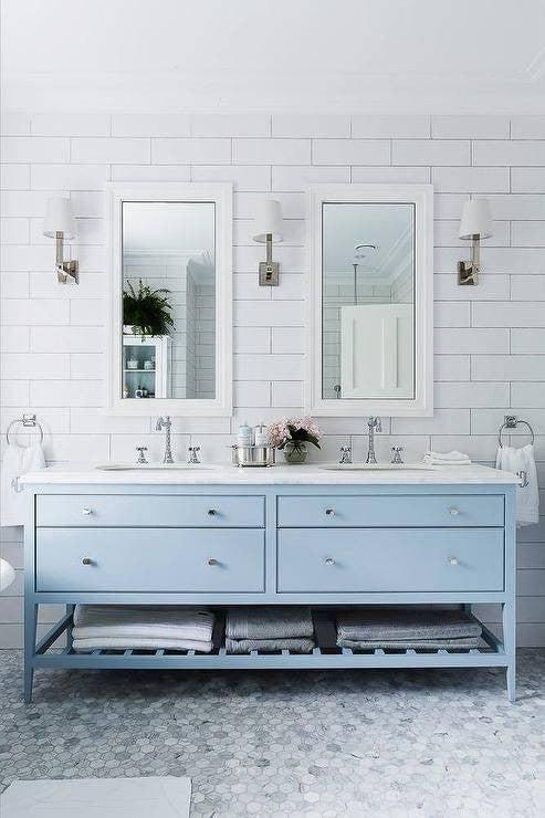 minimalist bathroom blue vanity
