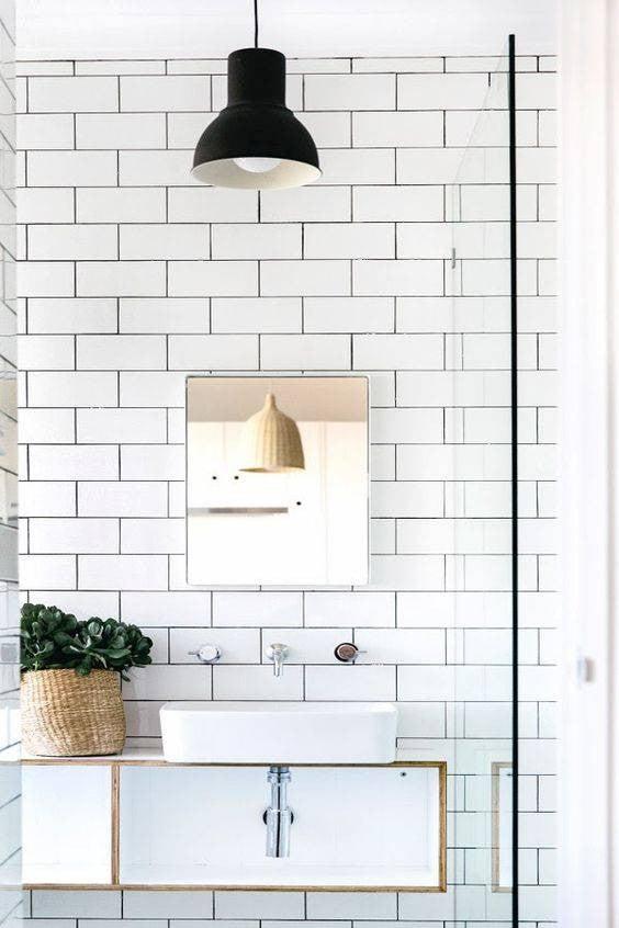 minimalist bathroom subway tile bathroom