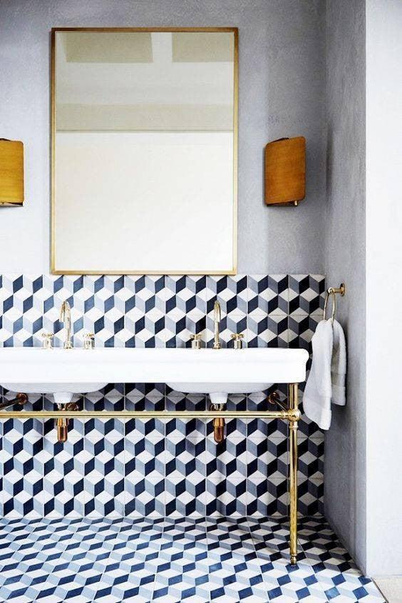 minimalist bathroom graphic bathroom tile design