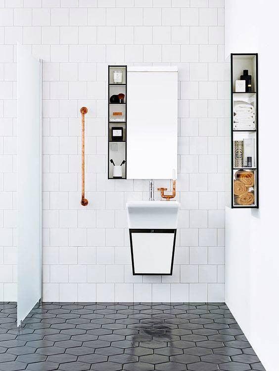 minimalist bathroom white bathroom with black shelves