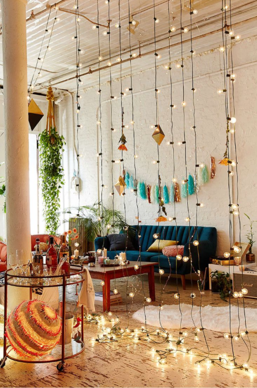 How to decorate with string lights: room divider
