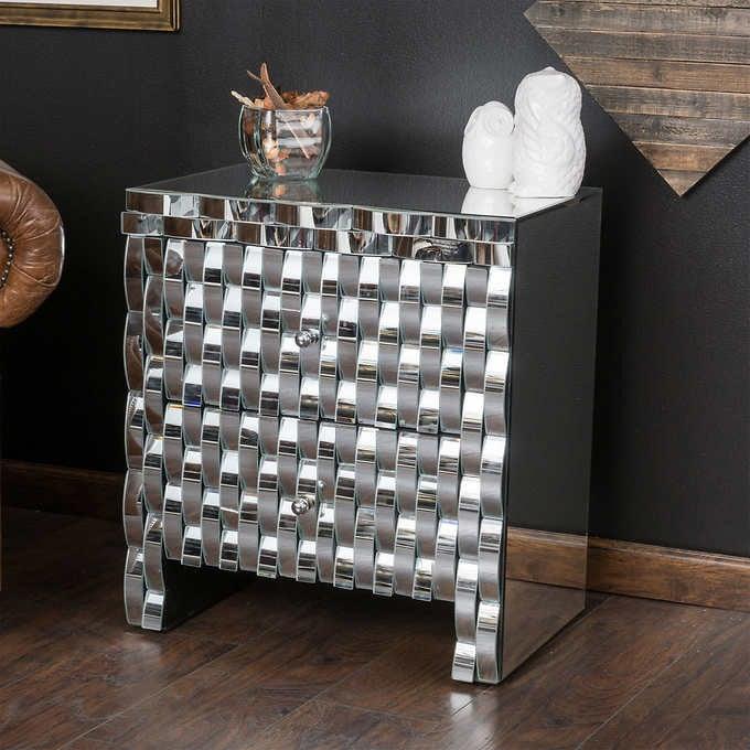 costco home furniture Bardot Mirrored End Table