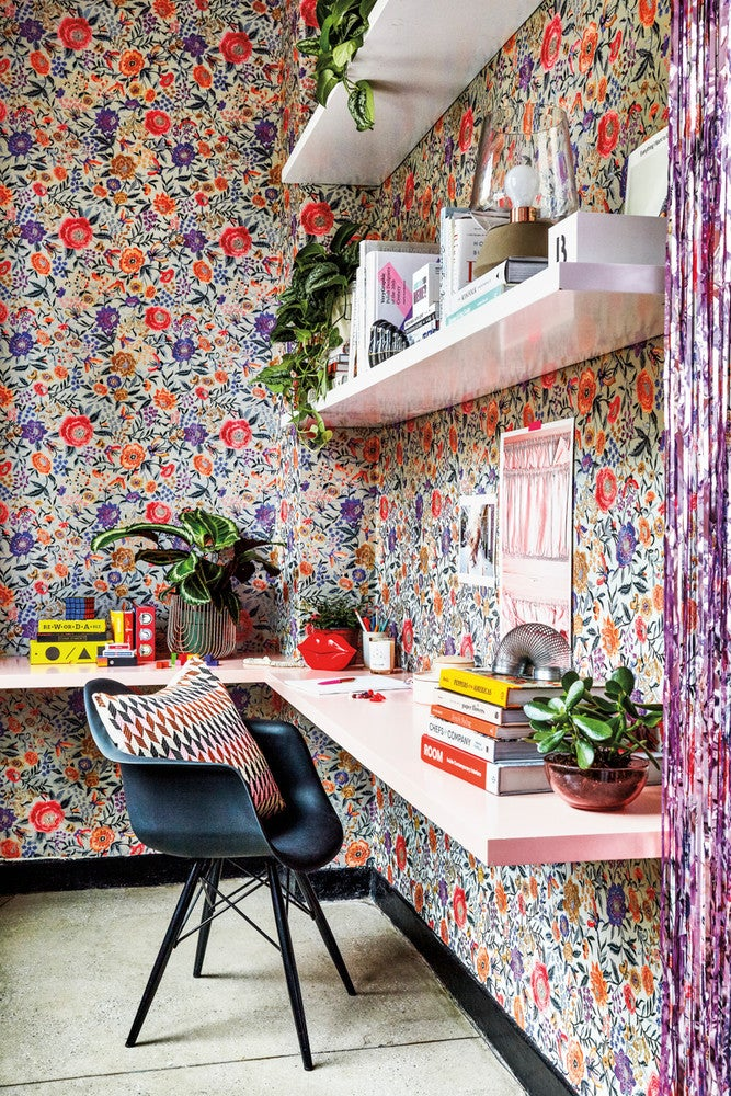 floral wallpaper office
