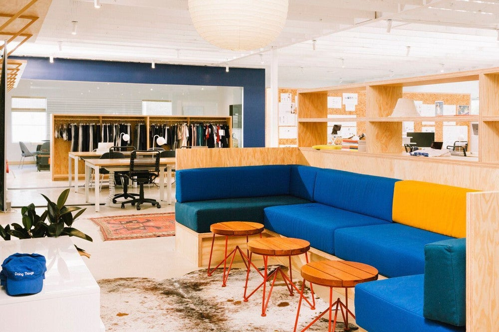 blue accented office space