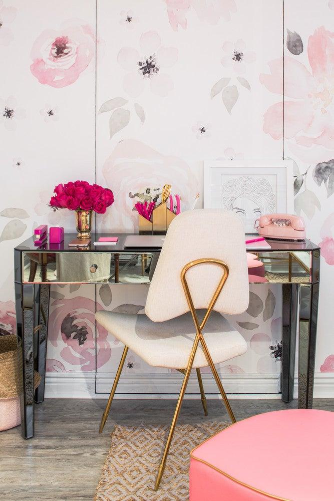 pink floral office design