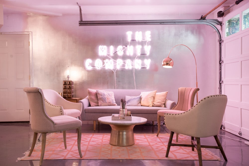 pink neon sign office decor