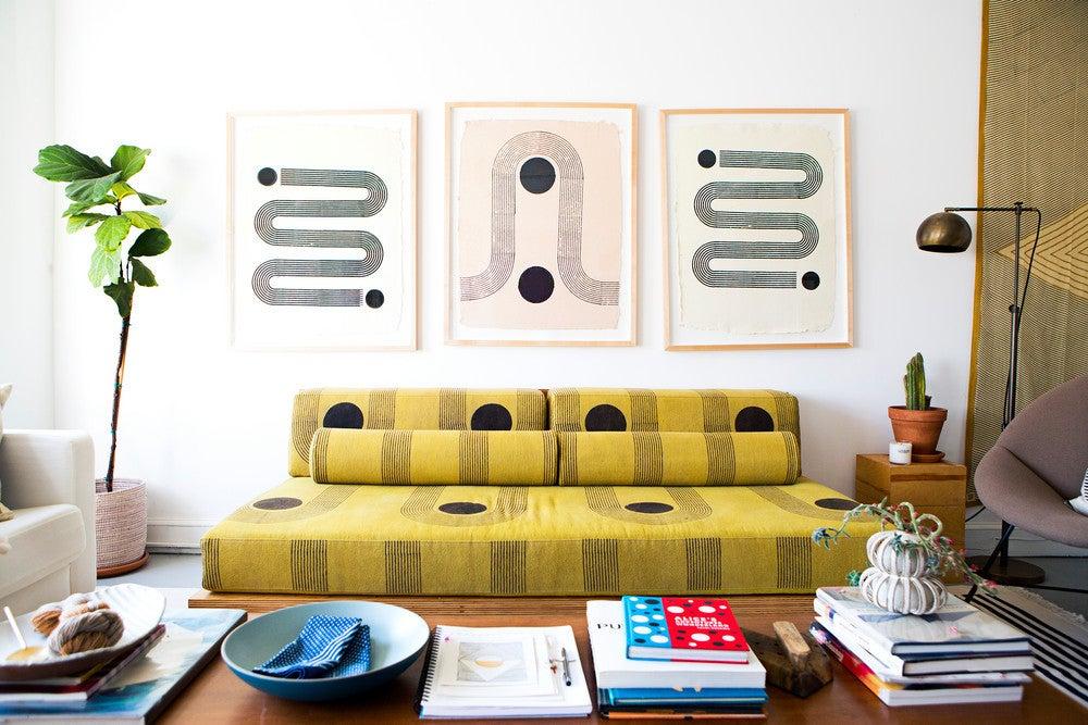 yellow block print sofa office