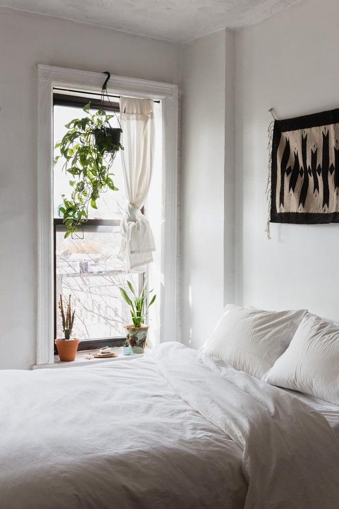 whitewashed minimalist bedroom