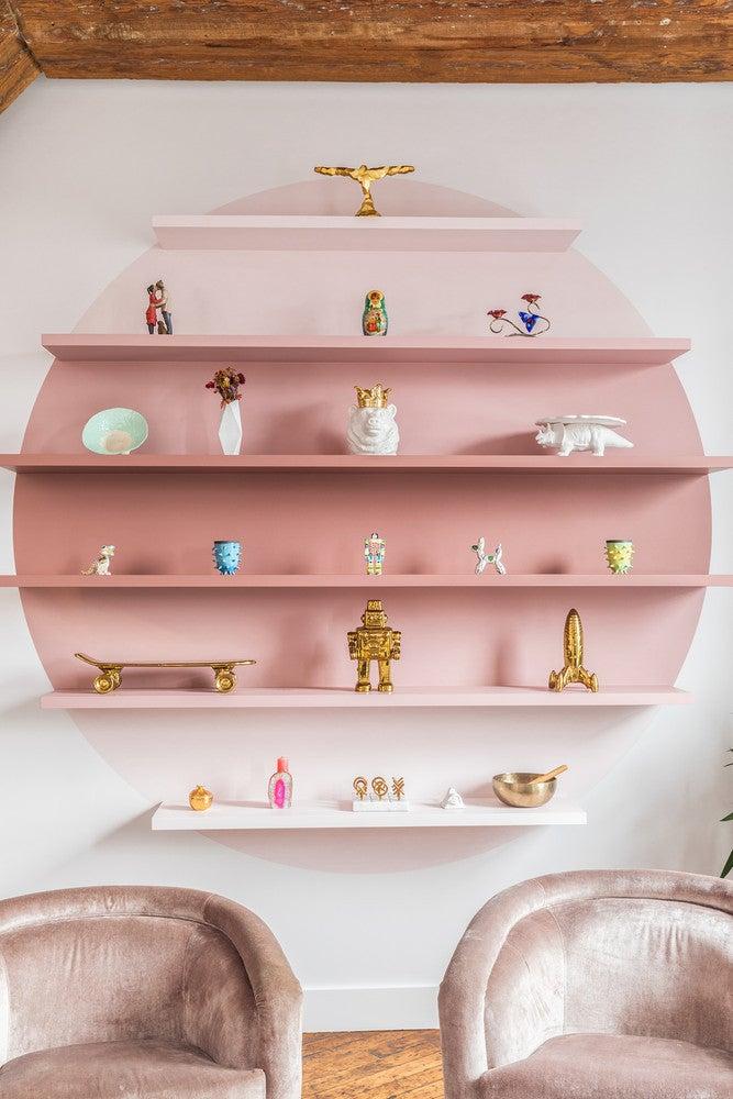 ombre pink bookshelf
