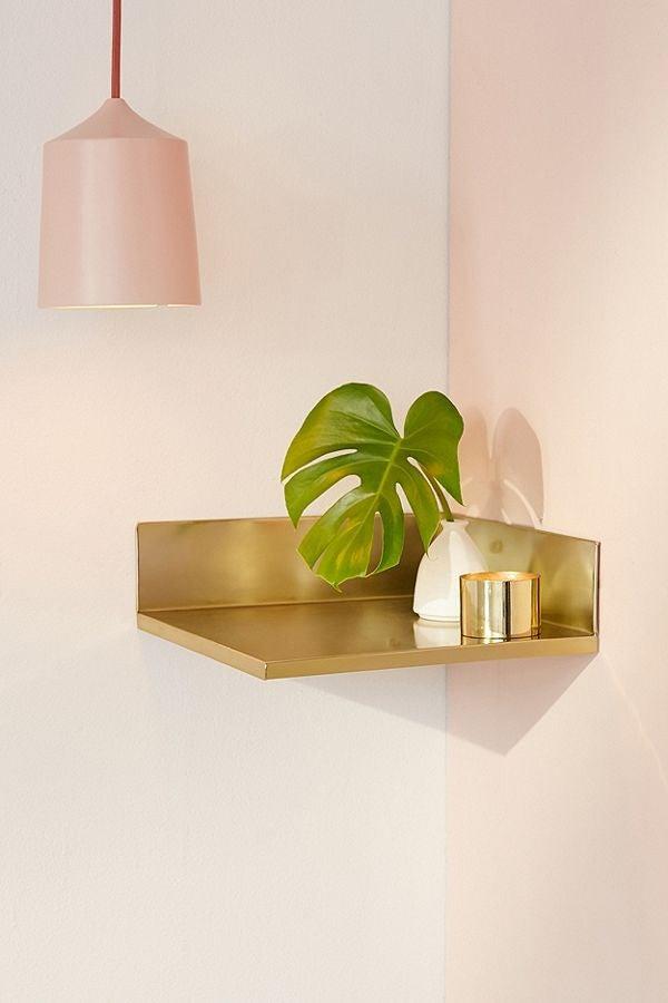 gold corner shelf