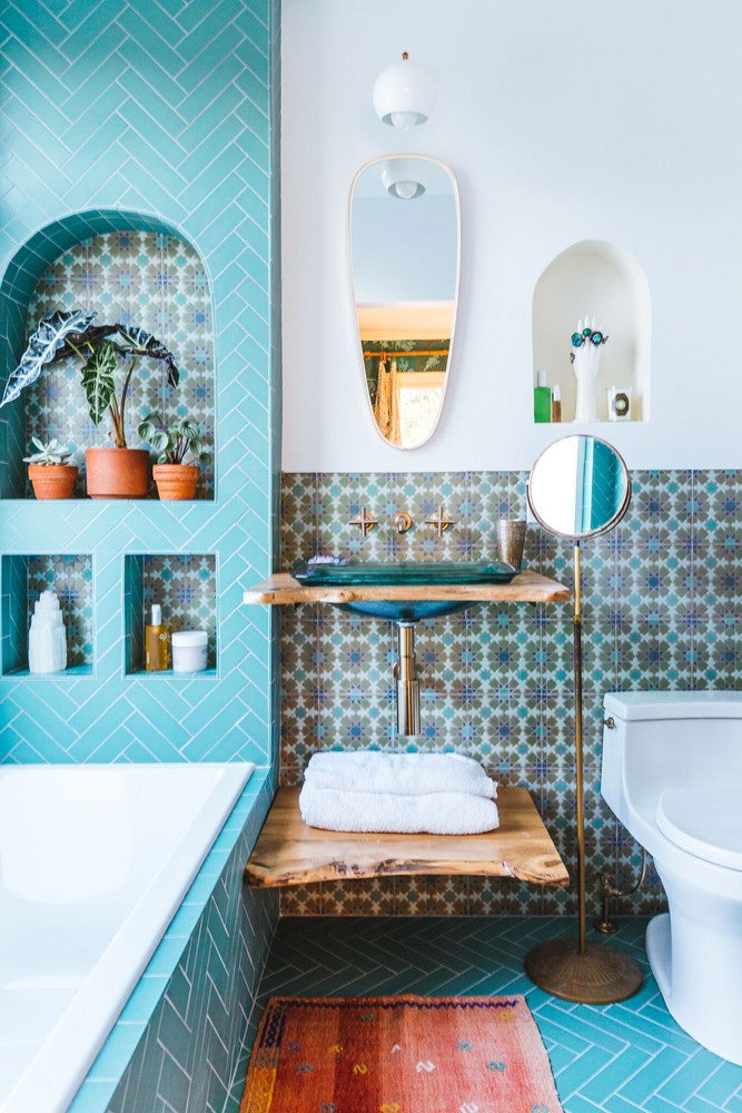 twotoned walls in bathroom trend  paint and tile ideas