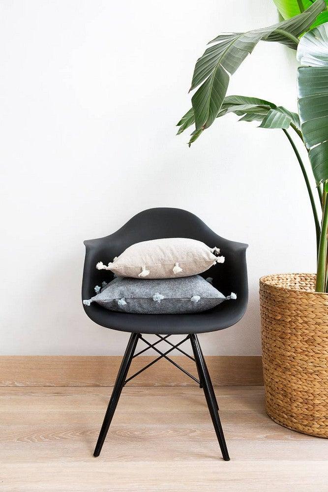 diy pillow tassels Black and White Living room