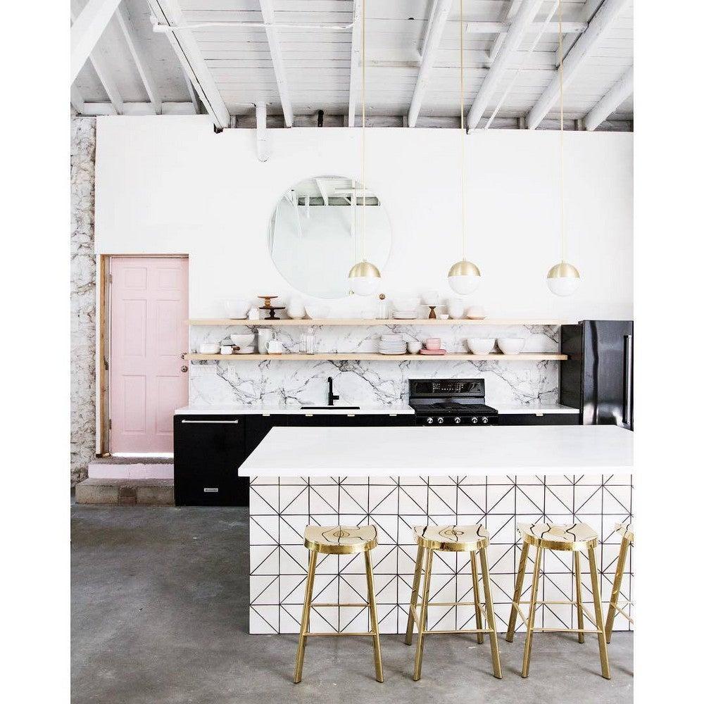 interior design instagram white and pink kitchen