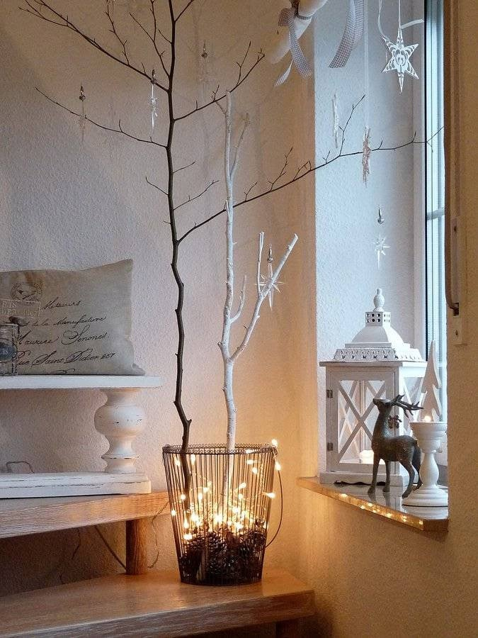 scandinavian christmas decor white room with branches