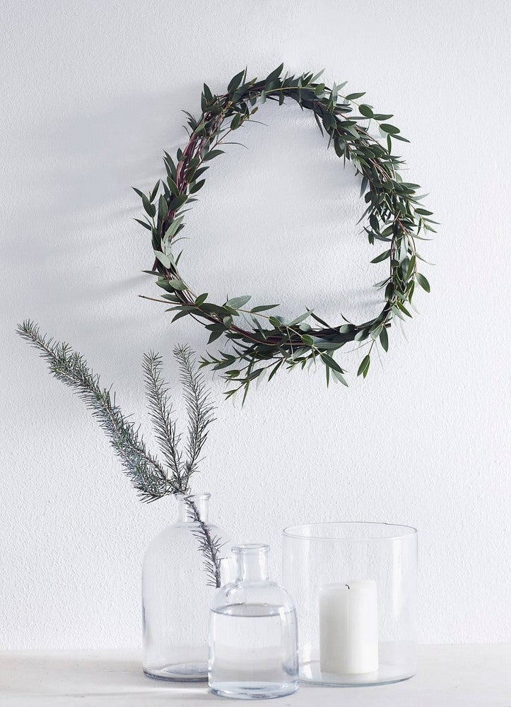 scandinavian christmas decor white room with christmas wreath