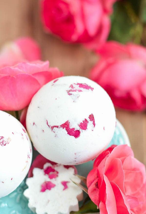7 Fun and Fizzy DIY Bath Bomb Recipes - rose and milk bath bomb