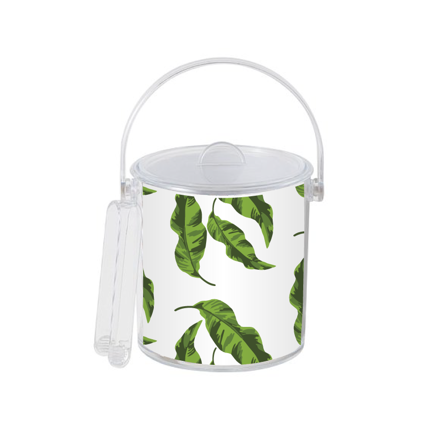 entertaining items leaves bucket with gold monogram