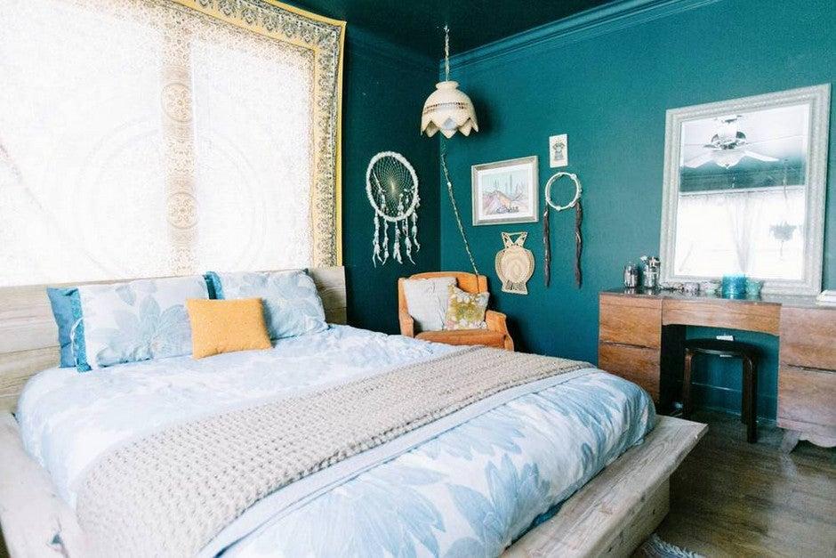 10 Teal Home Decor Ideas- bohemian bedroom