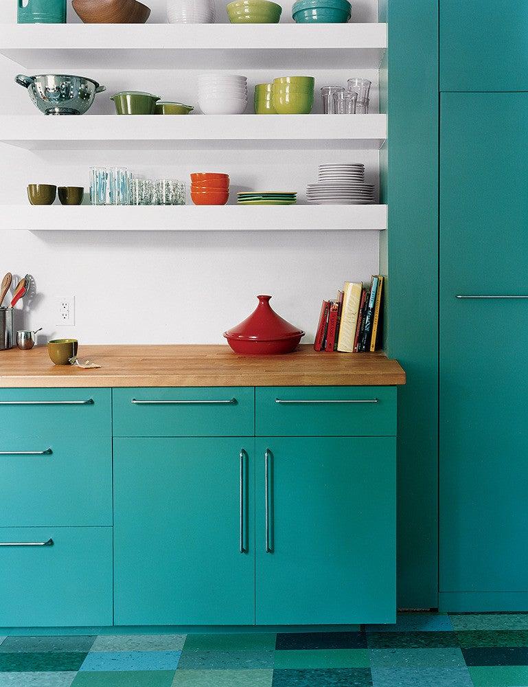 10 Teal Home Decor Ideas- modern and playful kitchen
