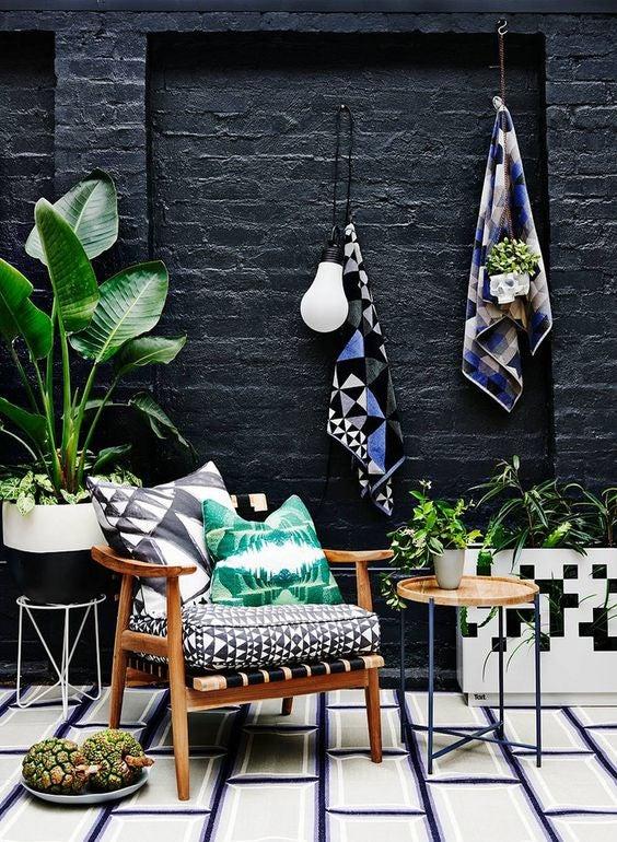 patterned tile stark contrast
