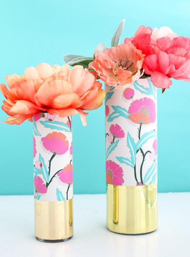 diy vases wrapped patterned