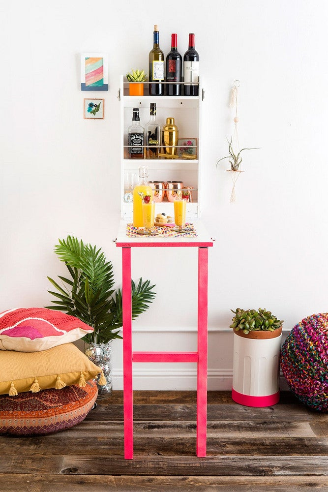 How to Fake a Bar Cart In a Tiny Space