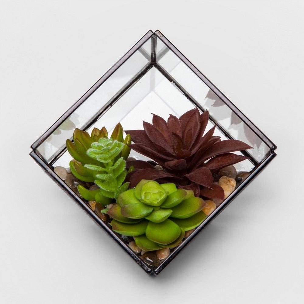 Artificial Succulent Glass Terrarium