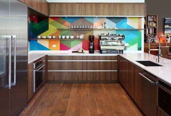 Colorful Kitchen Backsplashes Rainbow Painted Backsplash