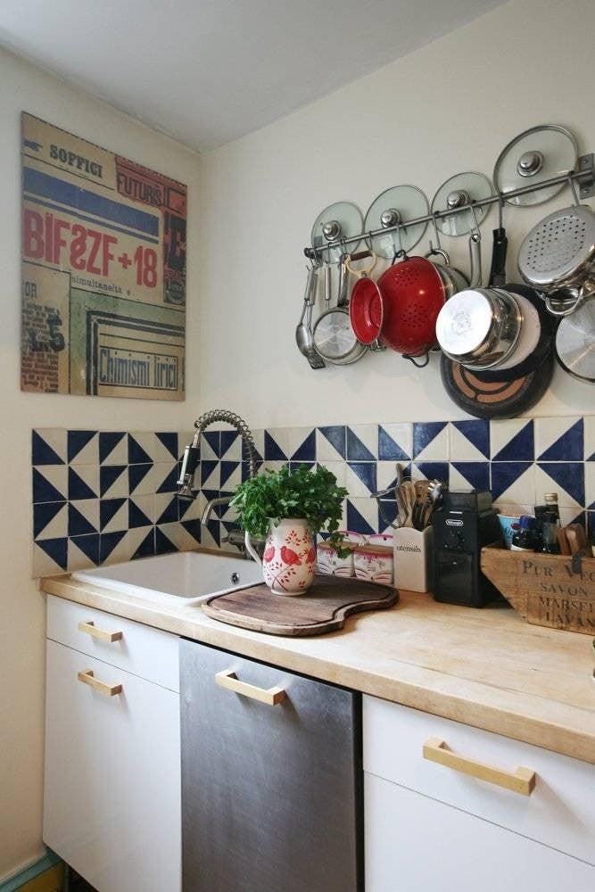 Colorful Kitchen Backsplashes Blue White Patterned Backsplash