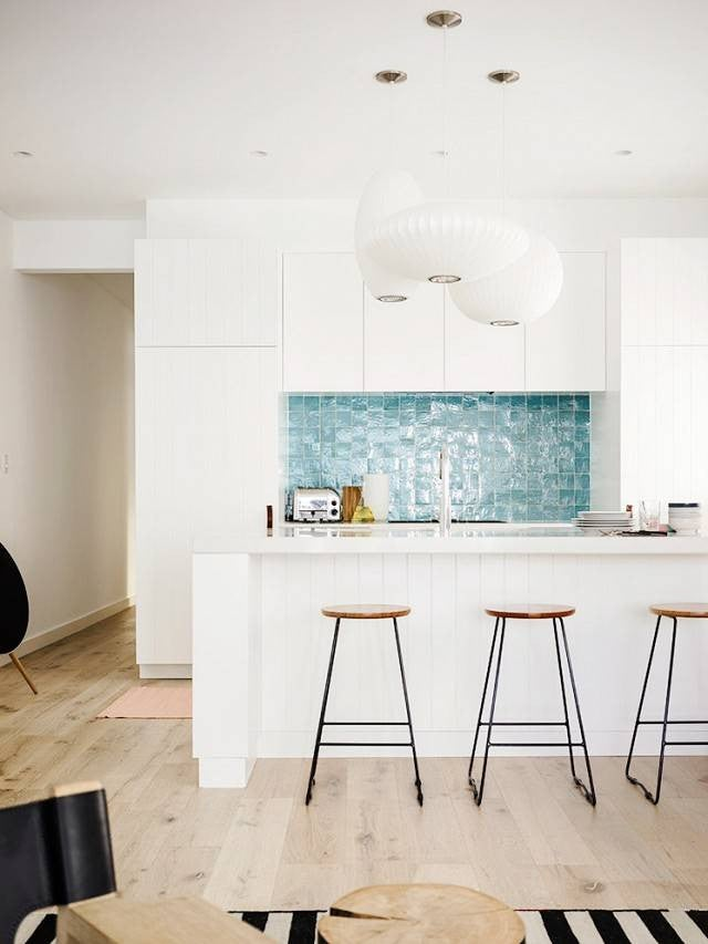 Colorful Kitchen Backsplashes White Kitchen Blue Backsplash
