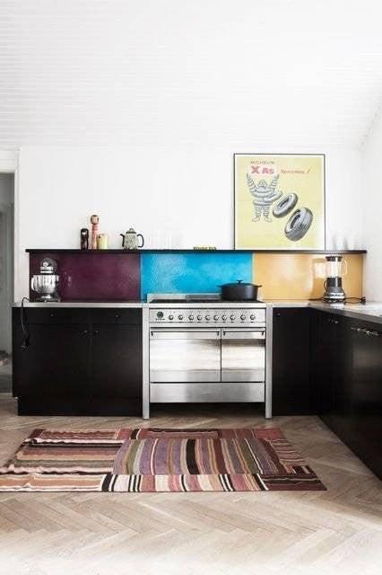 Colorful Kitchen Backsplashes Purple Blue Taupe