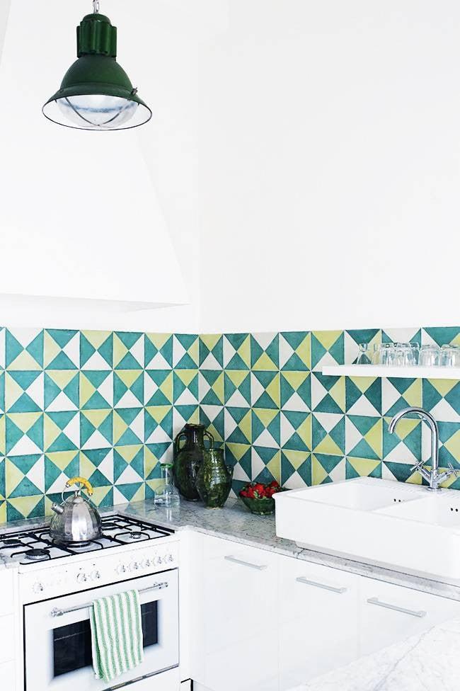 Colorful Kitchen Backsplashes Green White Patterned Tile Backsplash