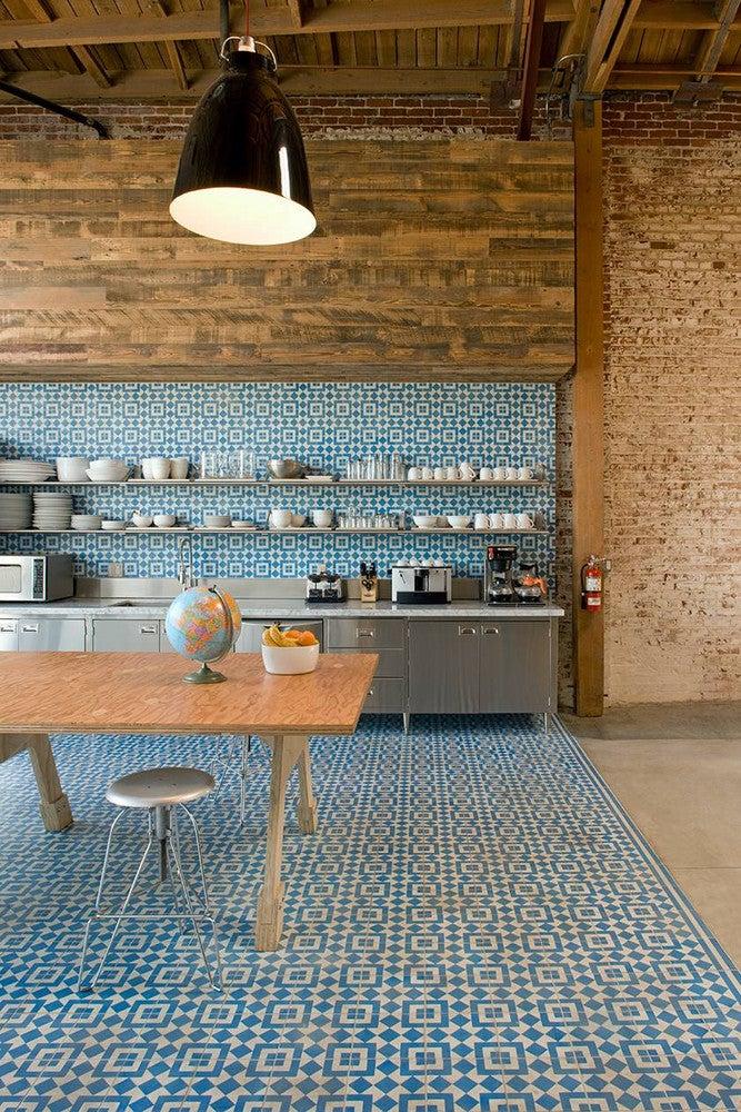 Colorful Kitchen Backsplashes Blue Green Patterned Tile Backsplash Floor
