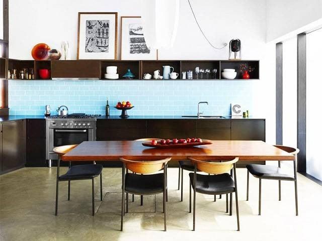 Colorful Kitchen Backsplashes Baby Blue Black Cabinets