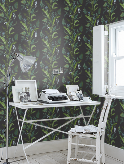 fall patterns home office with black and green floral wallpaper
