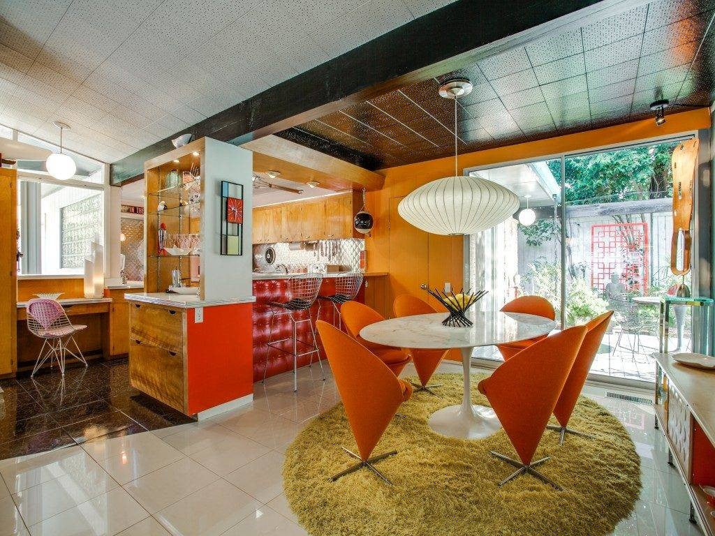 1950s interior design orange brown and white mid century interior