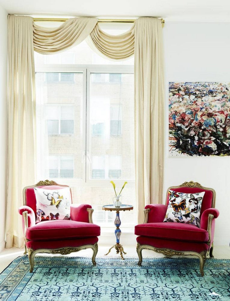 vintage furniture white room with red chairs