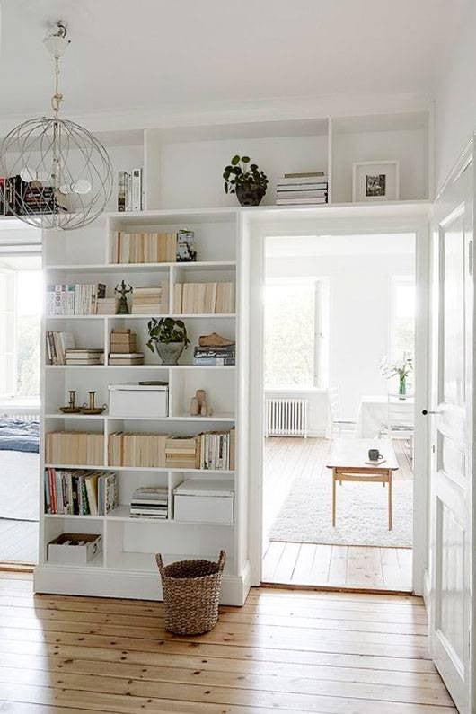 hallway-wall-ideas-white-hallway-bookshelf