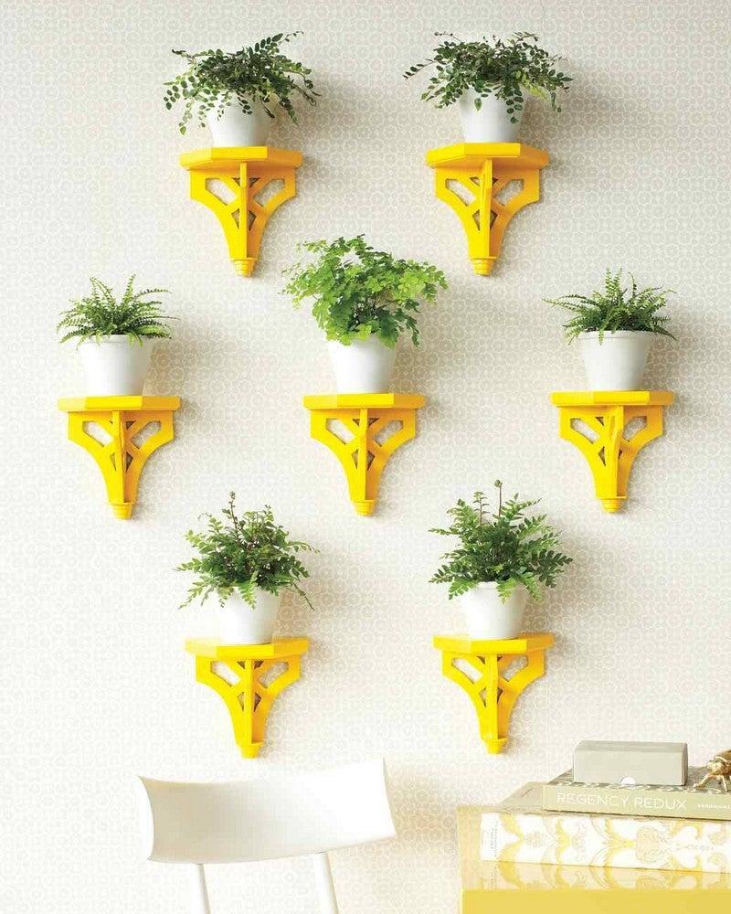 hallway-wall-ideas-yellow-mounted-planters