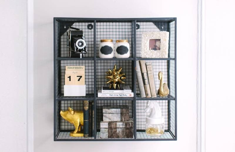 hallway-wall-ideas-square-shelving-unit