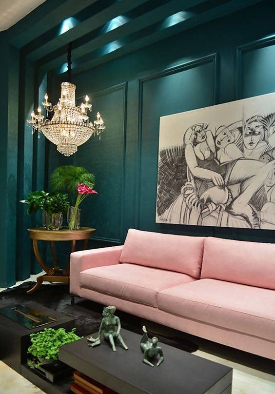 Colorful Sofas That Aren't Neutral Pink Couch In Teal Room