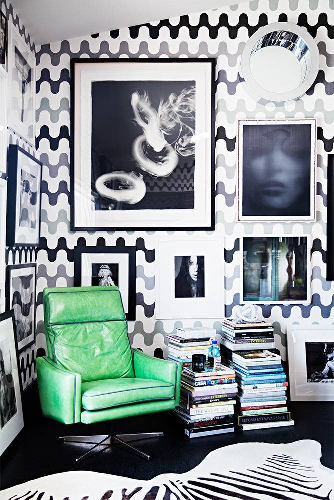 nail color trends black and white wallpaper with green chair