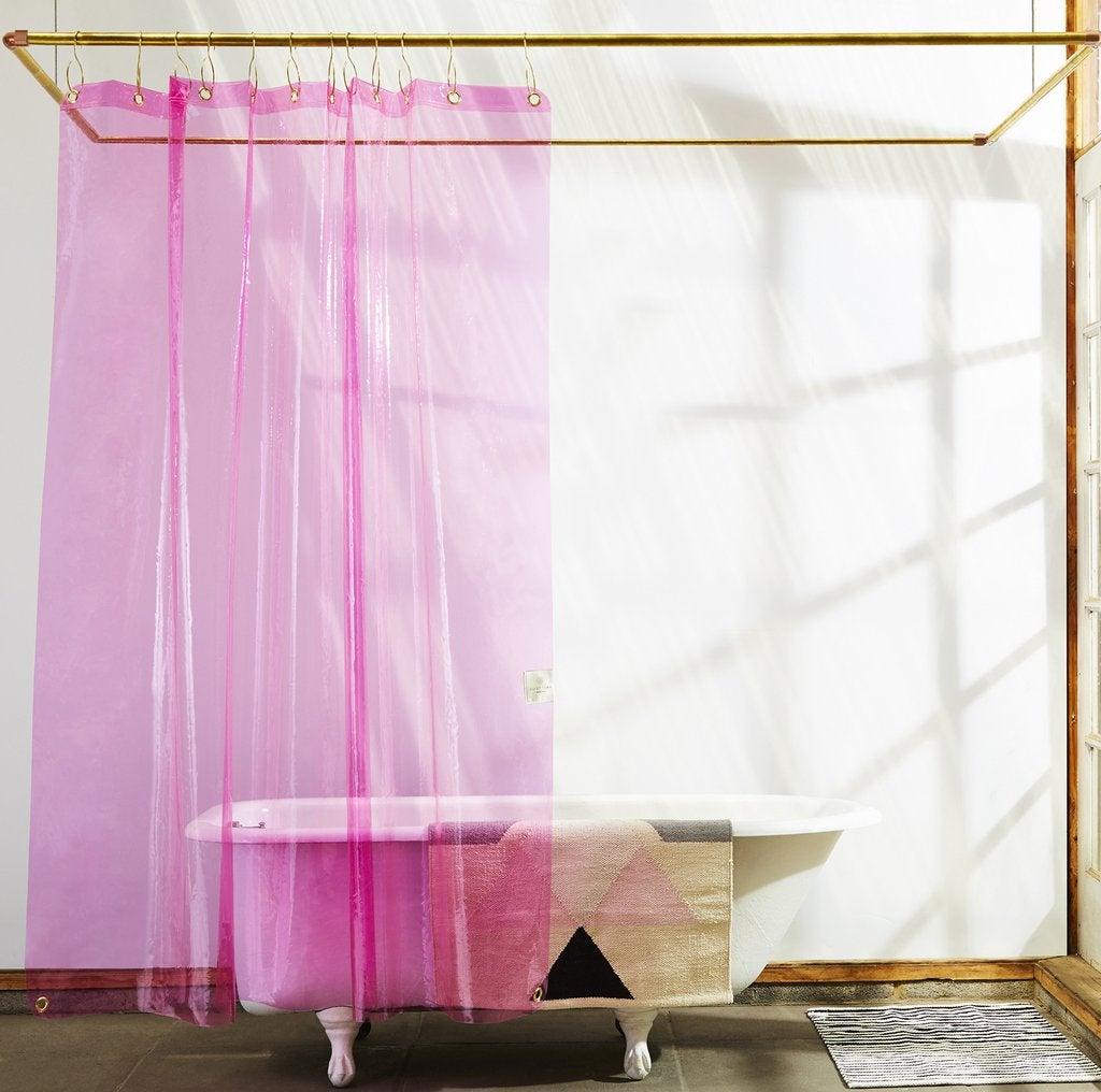 07- quiet town hot pink vinyl shower curtain