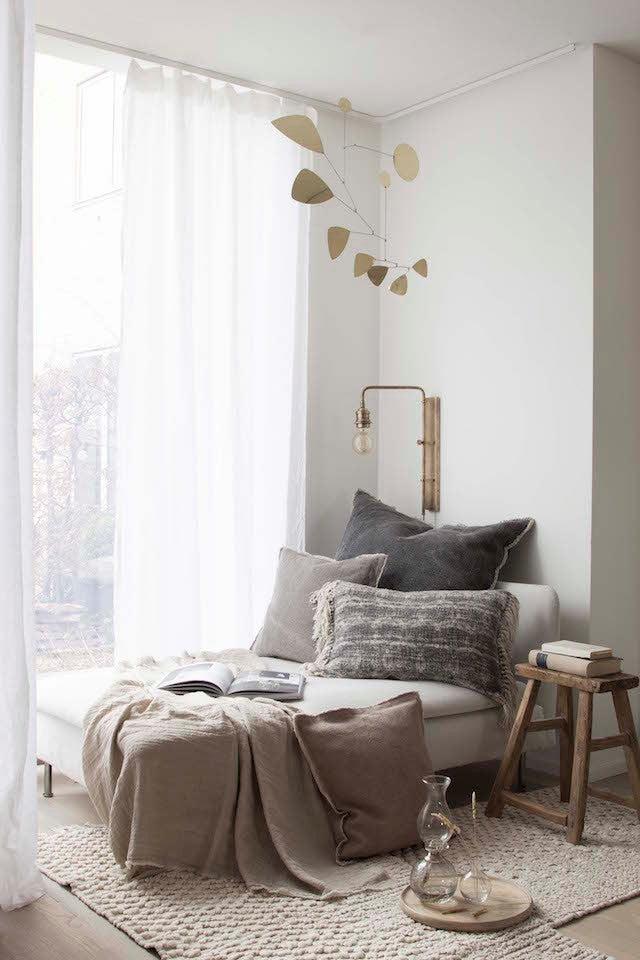 neutral Scandinavian-inspired decor reading nook