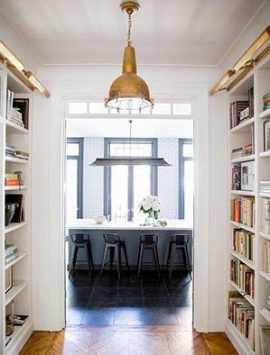 West Village Townhouse Alison Cayne White and Gray Kitchen