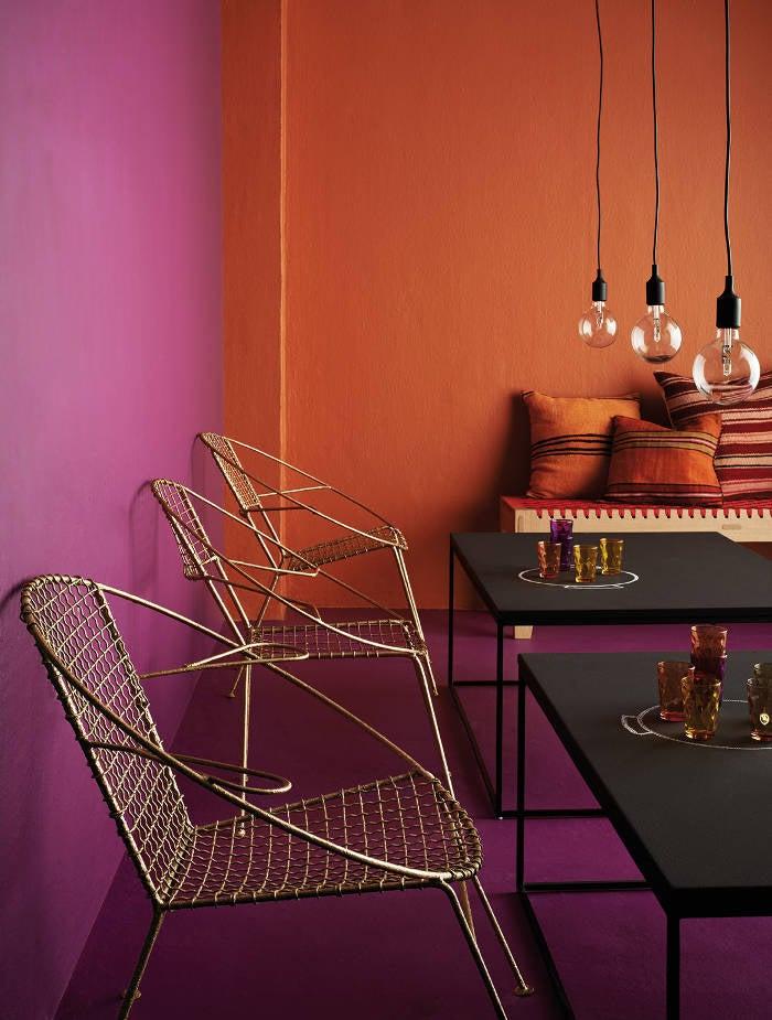 berry and orange interiors